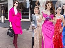 Chán những tông màu thanh lịch nhã nhặn, Phạm Hương bây giờ lại thích diện đồ màu hồng sặc sỡ