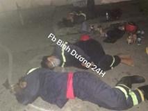 Lính cứu hỏa kiệt sức, ngủ tại hiện trường vụ cháy ở Bình Dương