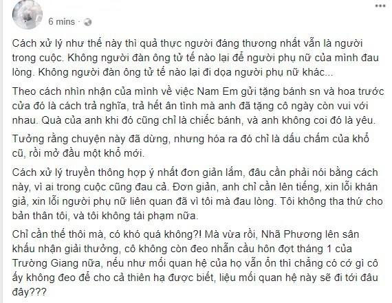 Sau phát ngôn của Trường Giang: Cư dân mạng dậy sóng chỉ trích, Nam Em quyết im lặng, Quế Vân bất ngờ mỉa mai-4