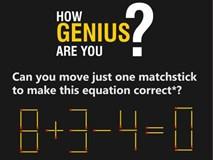 Các cách di chuyển một que diêm để phép tính 8 + 3 - 4 = 0 thành đúng