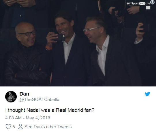 Cổ vũ Atletico, Rafael Nadal bị fan Real gọi là rắn độc-7