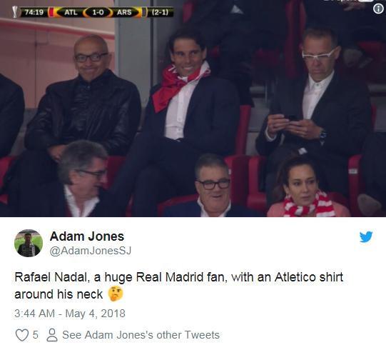 Cổ vũ Atletico, Rafael Nadal bị fan Real gọi là rắn độc-8