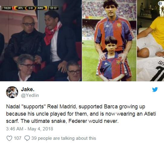 Cổ vũ Atletico, Rafael Nadal bị fan Real gọi là rắn độc-4