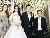 Cường Đô La và bạn gái Đàm Thu Trang cùng nhau đến chúc mừng đám cưới của Diệp Lâm Anh