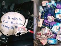 Dòng chữ nắn nót trên mũ bảo hiểm và vali chật ních BVS khiến dân mạng thắc mắc