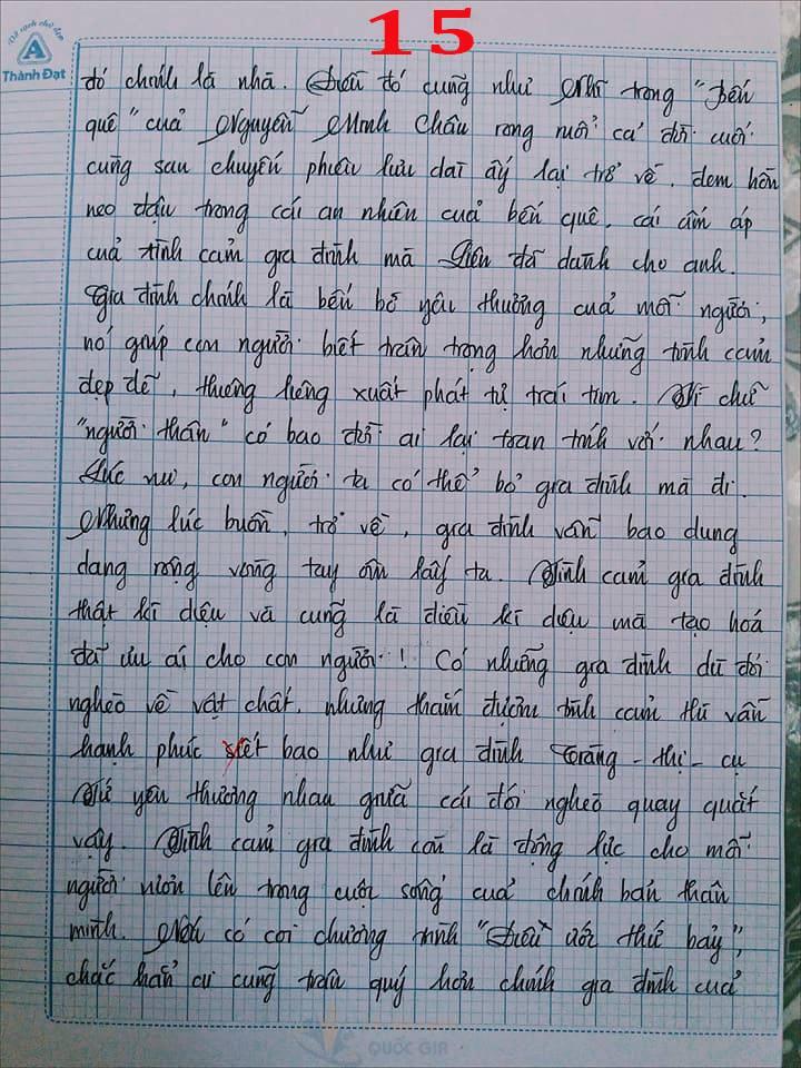 Bài văn 9,5 điểm về tình cảm gia đình khiến cô giáo phải thốt lên: Mọi ngôn từ đều trở nên bất lực!-15