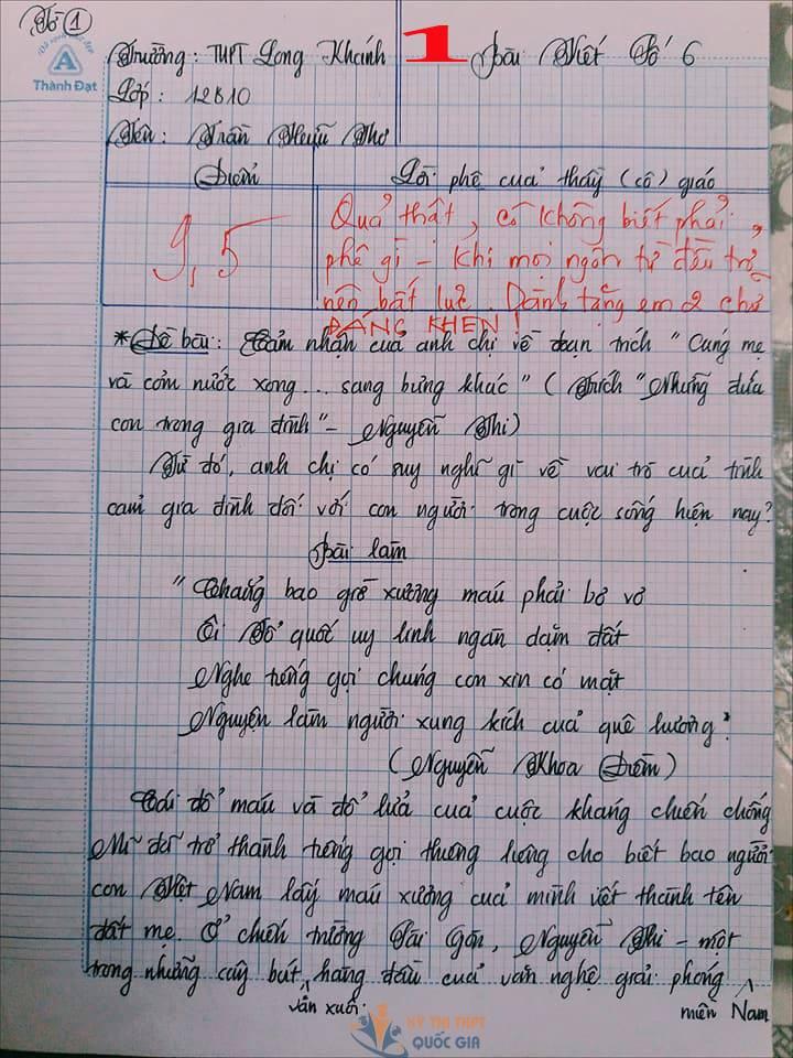 Bài văn 9,5 điểm về tình cảm gia đình khiến cô giáo phải thốt lên: Mọi ngôn từ đều trở nên bất lực!-1