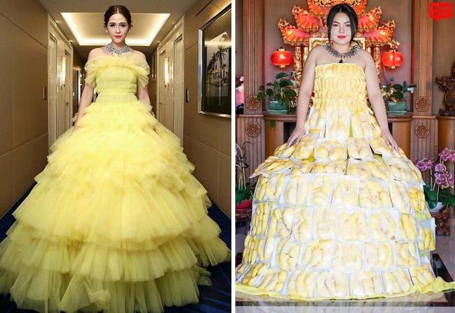 Cô nàng mang cả chục kg sầu riêng chỉ để nhại chiếc váy của sao-1