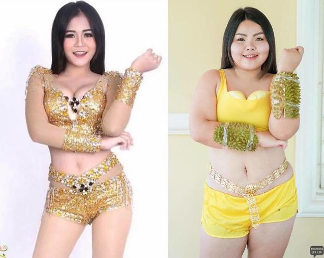 Cô nàng mang cả chục kg sầu riêng chỉ để nhại chiếc váy của sao-3
