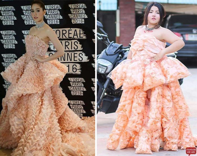 Cô nàng mang cả chục kg sầu riêng chỉ để nhại chiếc váy của sao-14