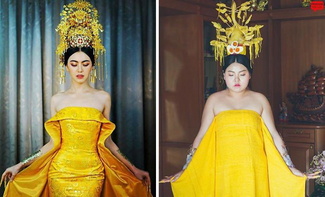 Cô nàng mang cả chục kg sầu riêng chỉ để nhại chiếc váy của sao-15