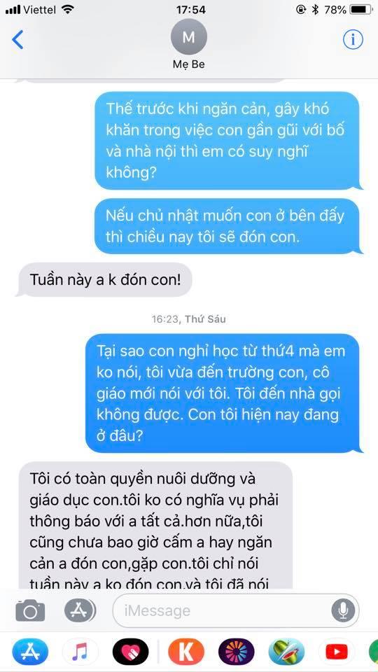 Chí Nhân tung đoạn tin nhắn với vợ cũ sau khi không gặp được con vì có người cố tình giấu đi-2
