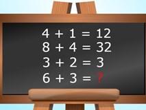 Nếu 4 + 1 = 12 thì 6 + 3 bằng bao nhiêu?