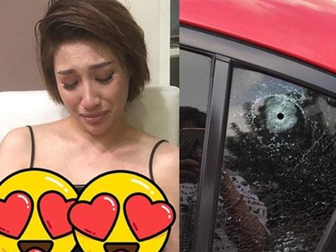 CHOÁNG: Xe hơi của Pha Lê bị xuyên thủng kính vì một viên đạn đi lạc