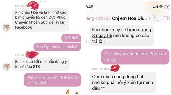 Hòa Minzy, Erik đáp trả cực lầy khi hacker đòi 50 triệu chuộc facebook Đức Phúc-1