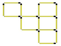 Di chuyển 3 que diêm để biến 5 thành 8 hình vuông