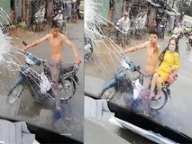 Thanh niên chở bạn gái ném gạch, đấm vỡ kính xe khách khi bị tạt nước cống