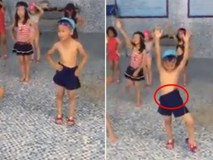 'Dở khóc dở cười' với bé trai đi bơi nhưng mặc nhầm quần... của bố