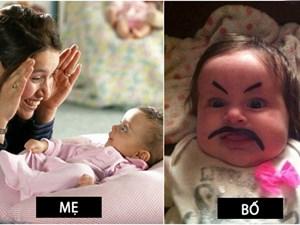 Sự đối lập hài hước giữa bố và mẹ khi trông con