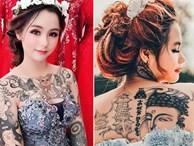 Cô gái xinh đẹp xăm kín người khoe ảnh váy cưới gây sốt mạng