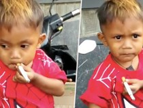Indonesia: Cậu bé 2 tuổi hút 40 điếu thuốc lá/ngày, thậm chí trở nên hung dữ mất kiểm soát nếu thiếu nicotine