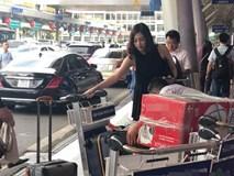Á hậu Tú Anh gầy gò lần đầu xuất hiện cùng chồng tại sân bay sau ngày cưới