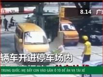 Clip: Người phụ nữ nhẫn tâm xô đứa trẻ vào ô tô để ăn vạ tài xế
