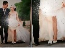 Cô dâu đi chụp ảnh gặp đúng phó nháy là người yêu cũ, photoshop ảnh cưới rất xinh, mỗi tội 1 chân trắng 1 chân đen
