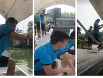 Clip: 'Cười không nhặt được mồm' với màn câu cá của Tiến Dũng, Đức Chinh, Quang Hải