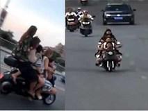 5 nữ sinh cấp 2 trên một chiếc xe tay ga gây choáng mạng xã hội