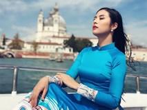 Hoa hậu Ngọc Hân diện áo dài lụa thả dáng ở Venice