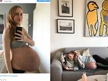 Góc hạnh phúc: Người vợ sinh ba khoe bụng bầu đại tướng gây bão trên MXH