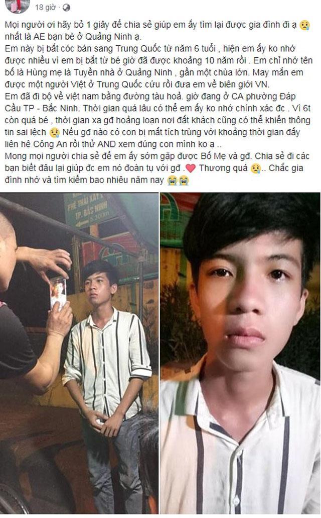 Bị bắt cóc sang Trung Quốc 10 năm, nam thanh niên trốn về được nhưng không nhớ địa chỉ nhà-1