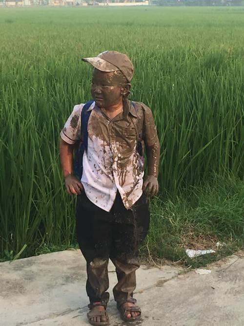 Lao xe xuống ruộng trên đường đi học, cậu bé này làm cư dân mạng cười ngặt nghẽo-1