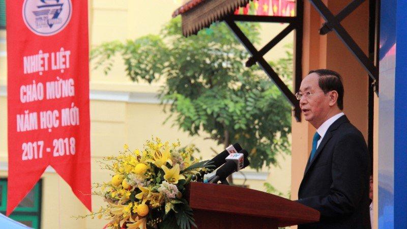 3 lần đánh trống trường của Chủ tịch nước Trần Đại Quang-4