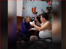 Con trai bật hát Xoan, ân cần xúc cơm nịnh mẹ già 90 tuổi ăn từng thìa
