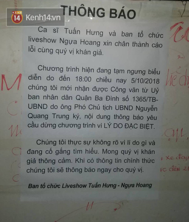 Đại diện Sở VH-TT Hà Nội cũng không biết lý do vì sao liveshow Tuấn Hưng bị hủy ngay phút 89-1
