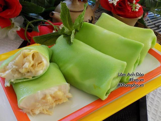 Cách làm bánh crepe sầu riêng lá dứa tuyệt ngon, ăn buổi nào cũng thích-1