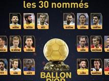Công bố 30 ứng cử viên tranh giải Quả bóng vàng 2018