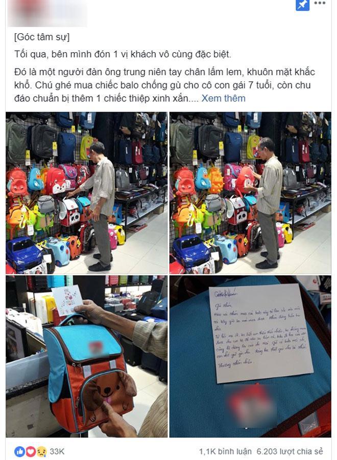 """Cha nghèo mua balo rồi nhờ nhân viên viết thiệp gửi con: Mẹ đi, ba biết con thiếu thốn nhiều…""""-1"""