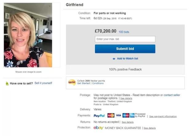 Trò đùa rao bán bạn gái trên eBay được trả giá hơn 90.000 USD-1