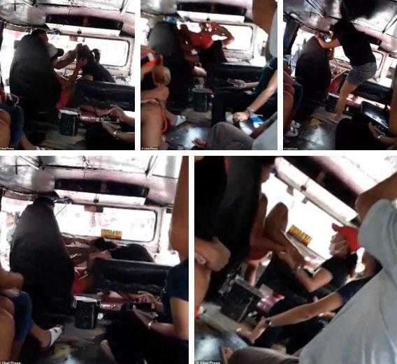 Màn đánh ghen gây thót tim: Chồng để bồ ngồi lên đùi trong lúc lái xe buýt, vợ lên đánh thì bị tấn công ngược-2