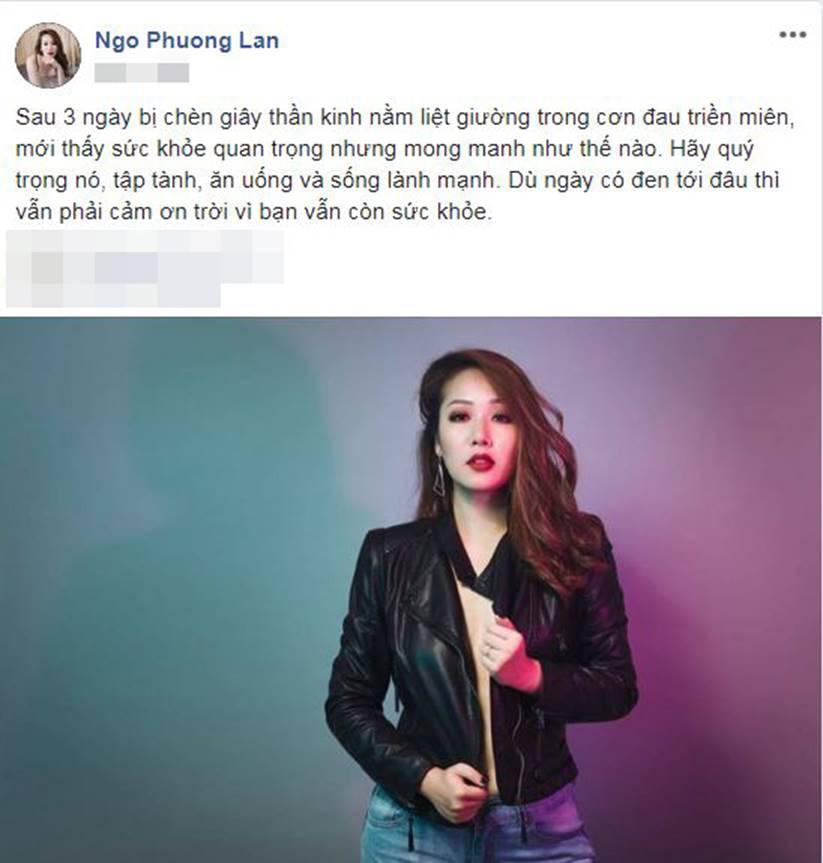 Hoa hậu Ngô Phương Lan bị chèn giây thần kinh nằm liệt giường trong cơn đau triền miên-1