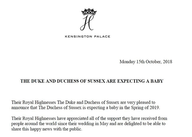Hoàng gia Anh chính thức xác nhận: Công nương Meghan đã mang thai con đầu lòng, dự sinh mùa xuân năm sau-1