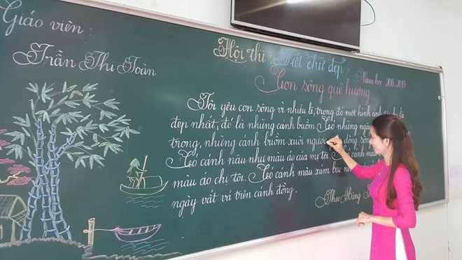 Khi giáo viên tiểu học đi thi viết chữ đẹp: Không máy in hay font chữ xịn sò nào có thể sánh ngang với bàn tay cô giáo!-1