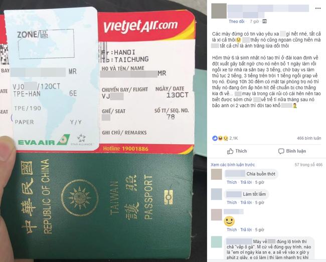 Bỏ làm, âm thầm bay từ Đài Loan về nước mừng sinh nhật bạn gái, chàng trai cay đắng vì phát hiện mọc sừng-1
