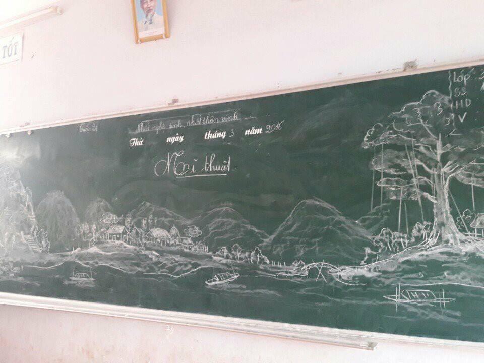 Tròn mắt với những bức tranh do thầy giáo vẽ nên bằng phấn-10