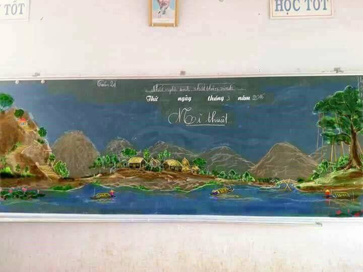 Tròn mắt với những bức tranh do thầy giáo vẽ nên bằng phấn-3