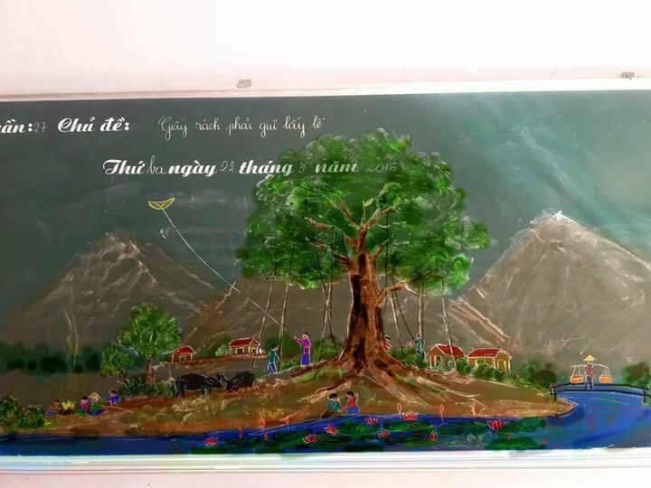 Tròn mắt với những bức tranh do thầy giáo vẽ nên bằng phấn-8