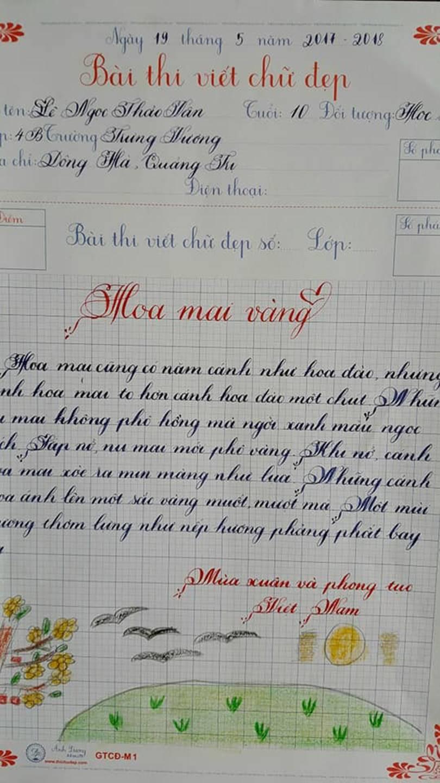 Thầy nào trò nấy, học sinh của 18 cô giáo viết đẹp gây sốt hôm qua cũng có nét chữ không máy in nào sánh bằng-11